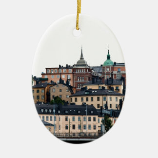 Stockholm view Double-Sided oval ceramic christmas ornament