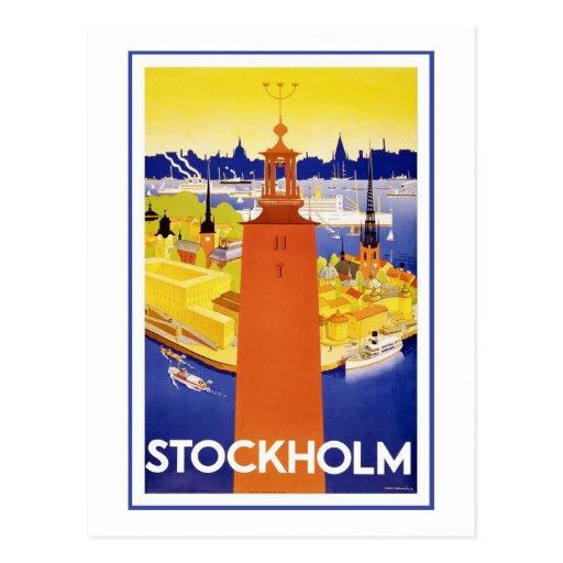 """""""Stockholm"""" Vintage Travel Poster Post Card"""