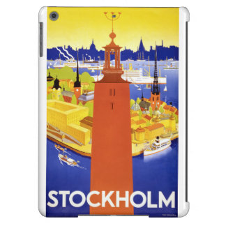 Stockholm Vintage Travel Poster Restored iPad Air Cover
