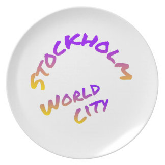 Stockholm world city,  colorful word art dinner plate