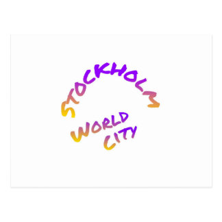 Stockholm world city,  colorful word art postcard