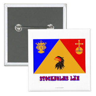 Stockholms län flag with name pinback button