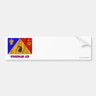 Stockholms län waving flag with name bumper sticker