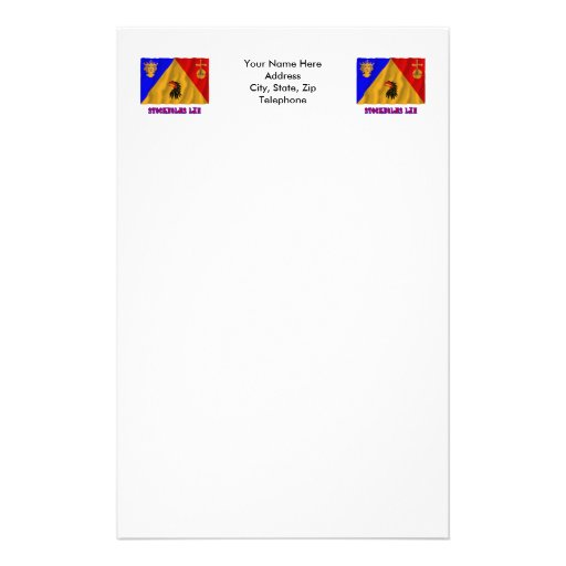 Stockholms län waving flag with name stationery