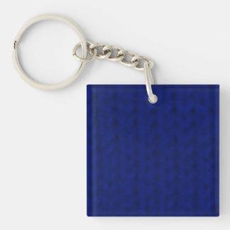 Stockinette azul llavero cuadrado acrílico a doble cara