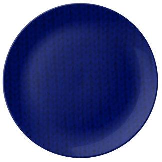 Stockinette azul platos de cerámica