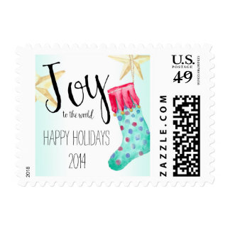 Stocking and Stars Christmas Postage