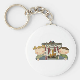 stocking are hung xmas tots basic round button keychain