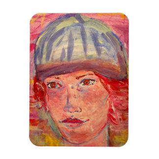 stocking hat girl rectangular photo magnet