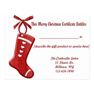 Stocking Ornament Gift Certificate Post Cards