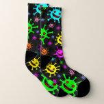 Stocking with virus print joyful bacteria socks