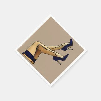 Stockings and Blue Stiletto Heels Paper Napkin