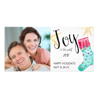 Stockings and Stars Holiday Photo Card. Card