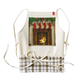 Stockings by the Fireplace Zazzle HEART Apron