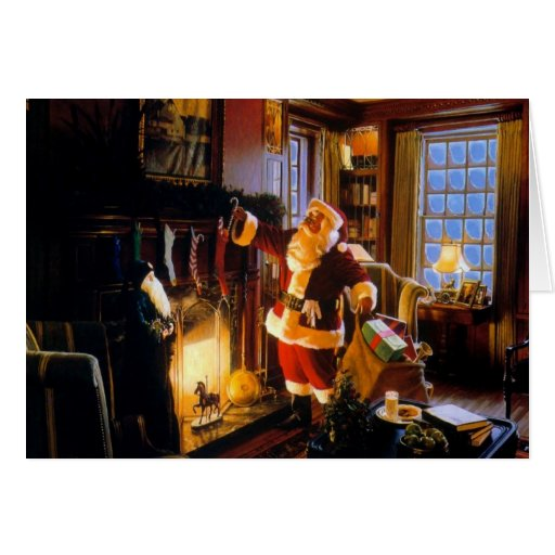 Stockings in the Fireplace Stationery Note Card