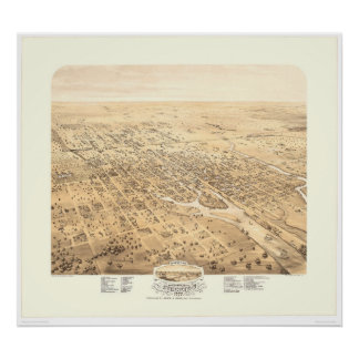 Stockton, CA Panoramic Map 1870 (1667A) - Restored Poster
