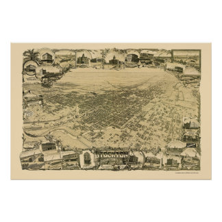 Stockton, CA Panoramic Map - 1895 Print