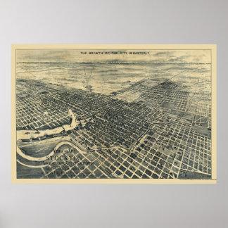 Stockton, CA Panoramic Map - 1895 Posters