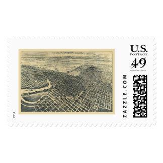 Stockton, CA Panoramic Map - 1895 Stamp