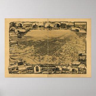 Stockton California 1895 Antique Panoramic Map Print