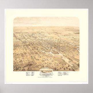 Stockton, mapa panorámico 1870 (1667A) de CA - res Posters