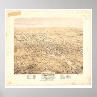 Stockton, mapa panorámico 1870 (1667A) de CA - Unr Póster