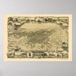 Stockton, mapa panorámico de CA - 1895 Póster