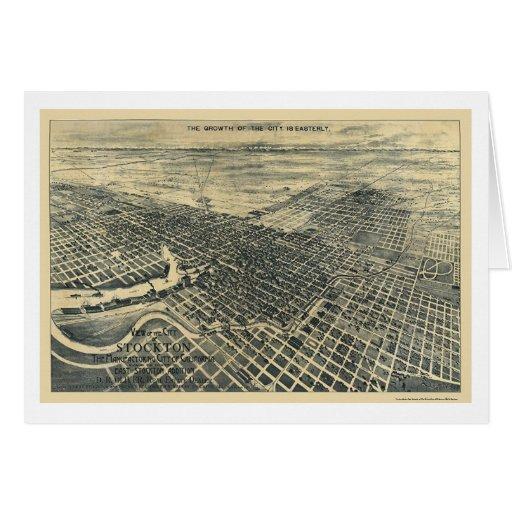 Stockton, mapa panorámico de CA - 1895 Tarjeta De Felicitación