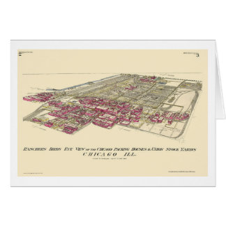 Stockyards Chicago, IL Panoramic Map - 1890 Card