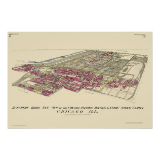 Stockyards Chicago, IL Panoramic Map - 1890 Poster