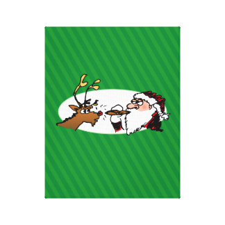 Stogie Santa and Reindeer on Green Stripes Canvas Print