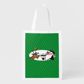 Stogie Santa and Reindeer on Green Stripes Grocery Bags