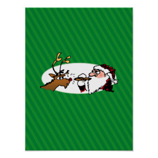 Stogie Santa and Reindeer on Green Stripes Poster