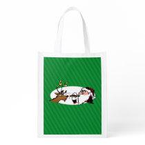 Stogie Santa and Reindeer on Green Stripes Reusable Grocery Bag
