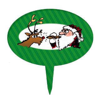 Stogie Santa Funny Cartoon Cake Pick