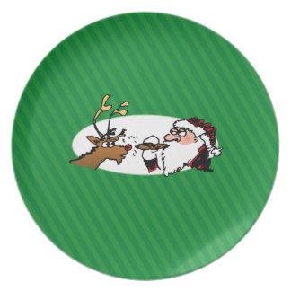 Stogie Santa Funny Cartoon Dinner Plate