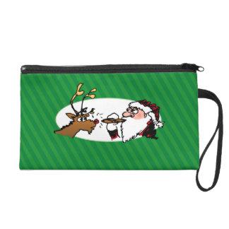 Stogie Santa Funny Green Stripe Wristlet Bag