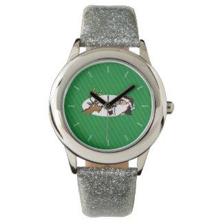 Stogie Santa y reno en rayas verdes Relojes De Mano