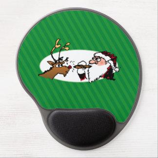 Stogie Smoking Santa Funny Green Stripe Christmas Gel Mouse Pad