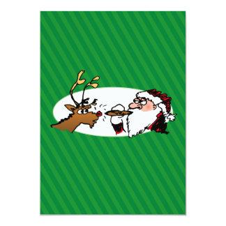 Stogie Smoking Santa Funny Green Stripe Christmas 5x7 Paper Invitation Card