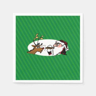 Stogie Smoking Santa Funny Green Stripe Christmas Napkin
