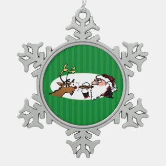 Stogie Smoking Santa Funny Green Striped Ornament