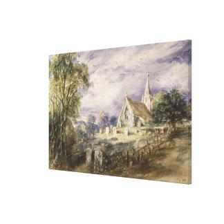 Stoke Poges Church, 1833 (w/c on paper) Canvas Print