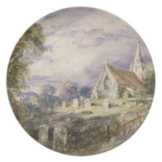 Stoke Poges Church, 1833 (w/c on paper) Melamine Plate
