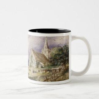 Stoke Poges Church, 1833 (w/c on paper) Two-Tone Coffee Mug