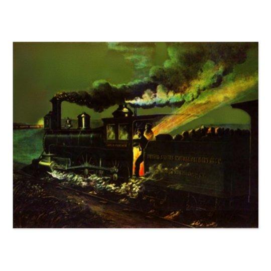 Stoking the Iron Horse ~ Midnight Train POSTCARD
