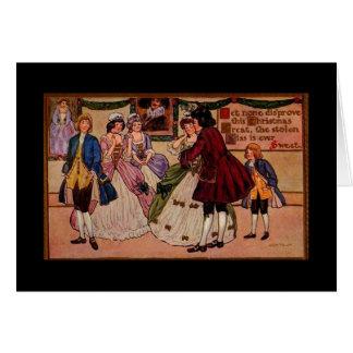 Stolen Kiss, Romantic Vintage Christmas Card