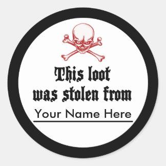 Stolen Loot Bookplate Classic Round Sticker