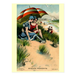 Stolen Moments, Beach Romance Vintage Postcard