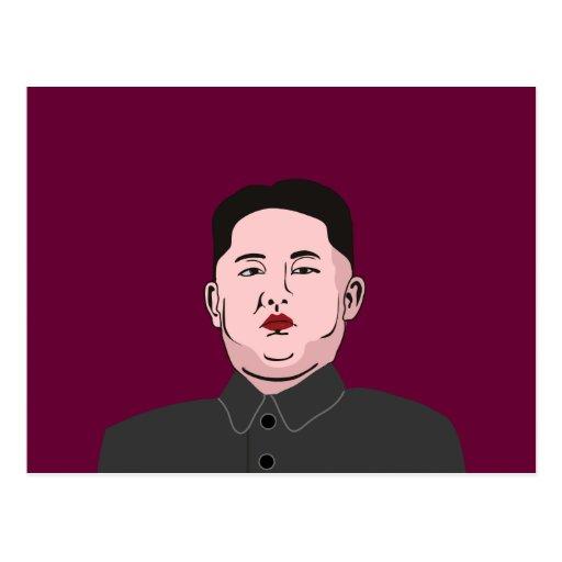Stolid Kim Jong-un Post Card